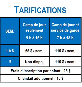 Camp 2018 - Tarification