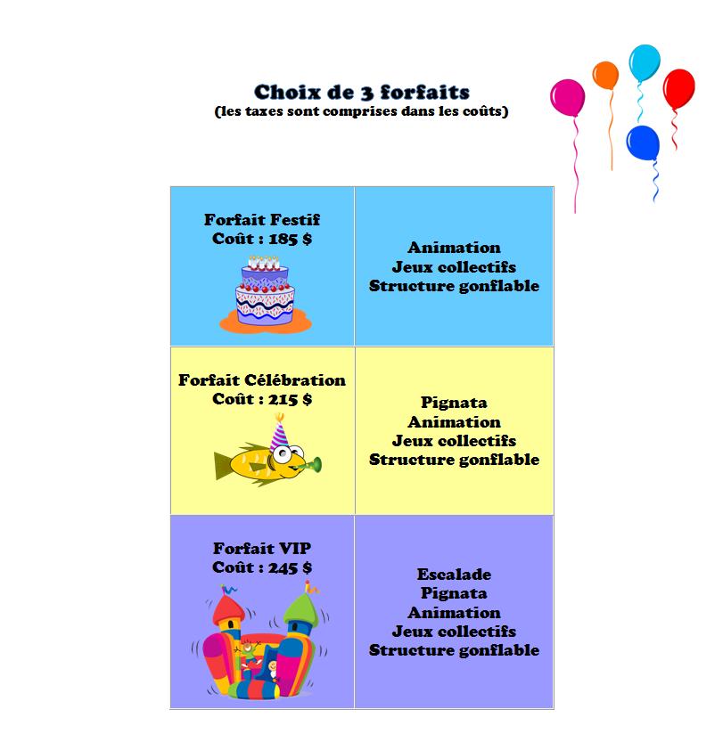 Forfait Fête d'enfant 2018-2