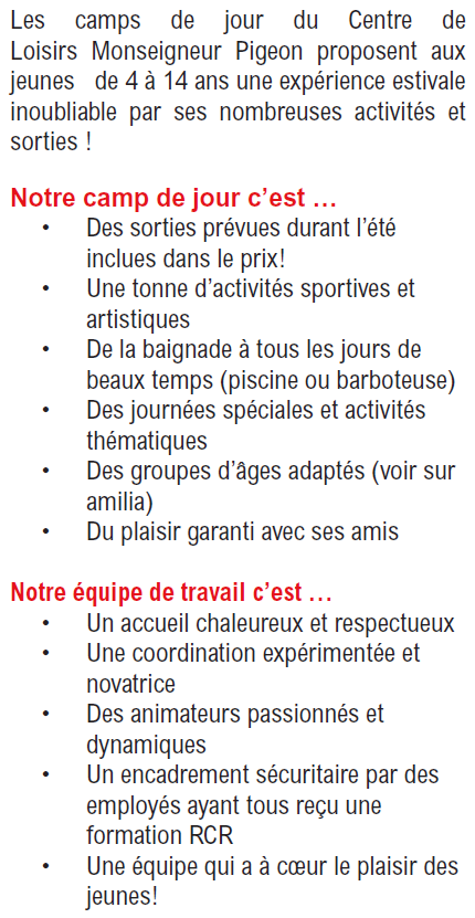 Camp de jour - informations